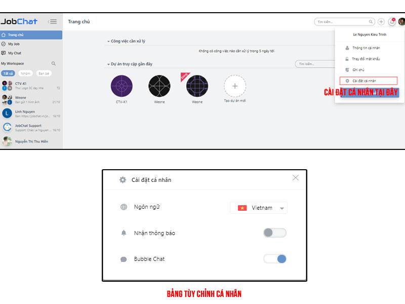Cách sử dụng tính năng cài đặt cá nhân trên Website.