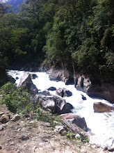 Photo: Vilcanota River (part of river more famously called Urubamba River) also changes to white water.  View from train.