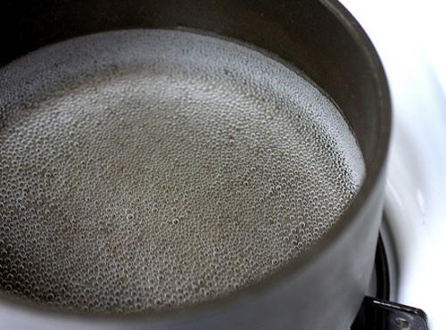 Now you don't want boiling water, you want very hot water, just to the...