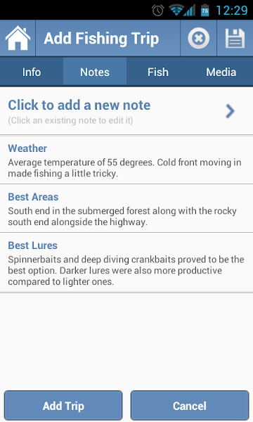 Photo: A look at the fully customizable notes section