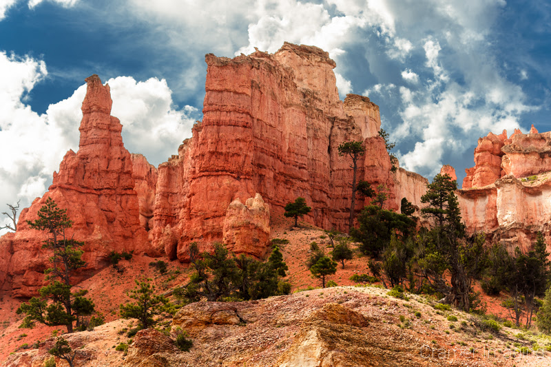 Cramer Imaging's professional quality landscape photograph of red rock formations and dramatic sky in Bryce Canyon National Park, Utah