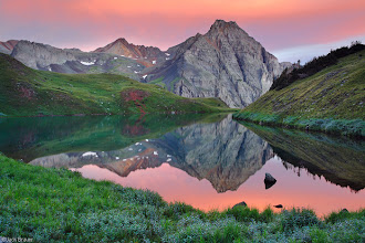 Photo: A brilliant sunrise reflection at the middle Blue Lake - August.
