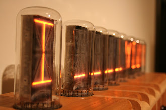 Photo: The letters on top are a vintage technology called Nixie tubes. They were made in the 1960s in order to get output from computers before there were LCD screens, and they aren't manufactured any more.