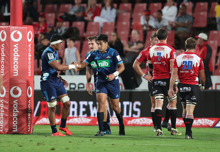 Rieko Ioane celebrates after scoring a try during the Super Rugby match between the Lions and the Blues at Ellis Park, Johannesburg on 10 March 2018.