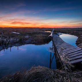 Crooked by Matthew Robertson - Landscapes Sunsets & Sunrises ( sunset, marsh, long exposure, ocean, bridge, cape cod, river,  )