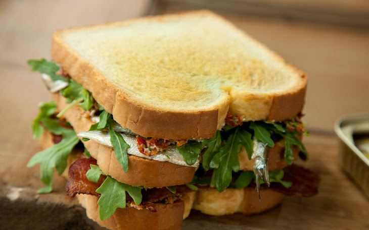 Sardine, Sun-Dried Tomato, and Bacon Club Sandwich Recipe