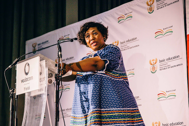 Education minister Angie Motshekga addresses the IEB top achievers during the matric result announcement breakfast in Midrand. Picture: CEBISILE MBONANI