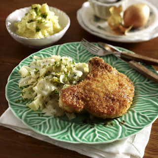 Crispy Pork with Fried Eggs, Cabbage and Mash.