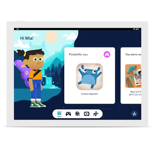 A screen featuring Google Kids Space with a cartoon character of a child and a curated app being featured with a jumping critter.