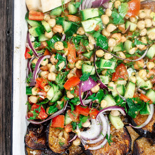 Mediterranean Chickpea Salad with Za'atar Fried Eggplant