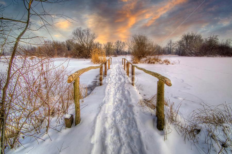 Old wooden bridge by Boris Frković - Landscapes Travel ( pwcwinter, old, winter, dawn, wooden, wood, snow, lake, bridge, savica, dusk )