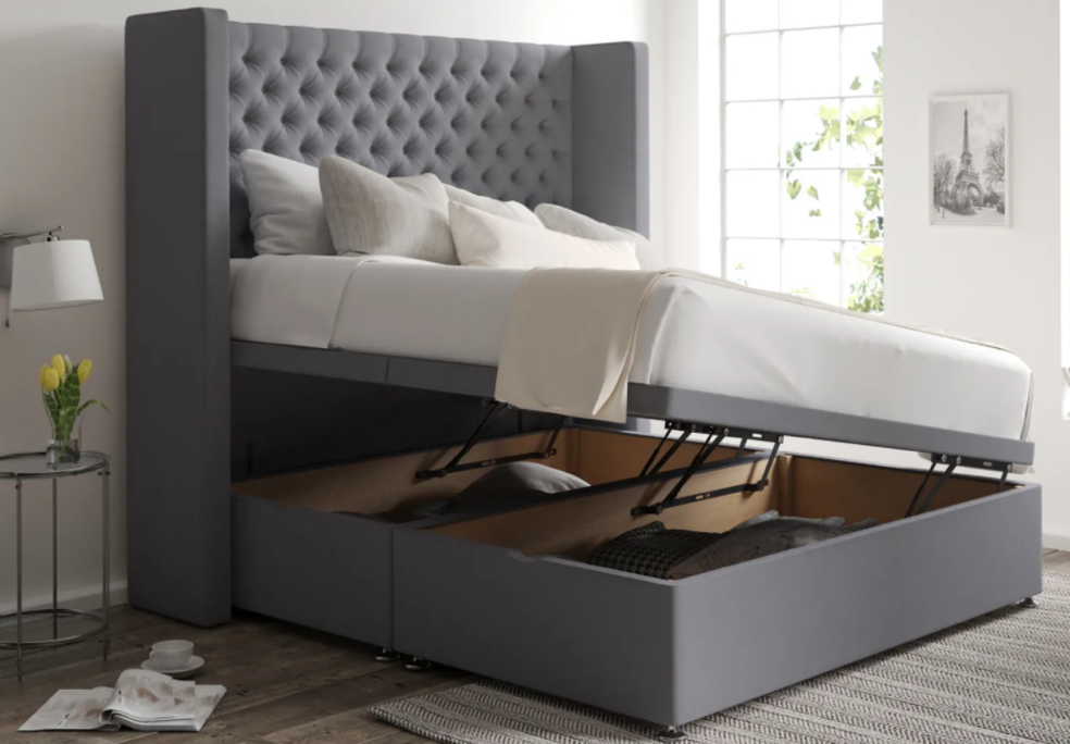 lift up storage bed in grey