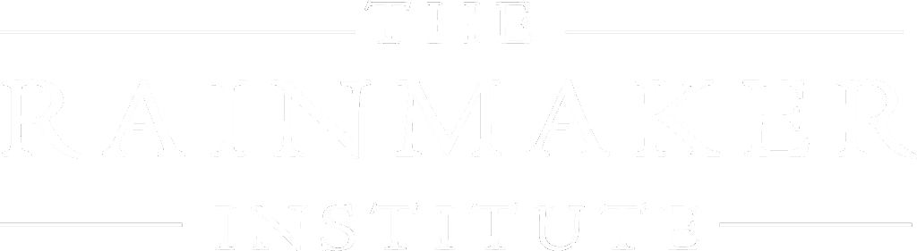 the rainmaker institute white logo