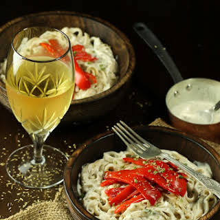 Creamy White Wine Sauce with Peppers and Pasta.