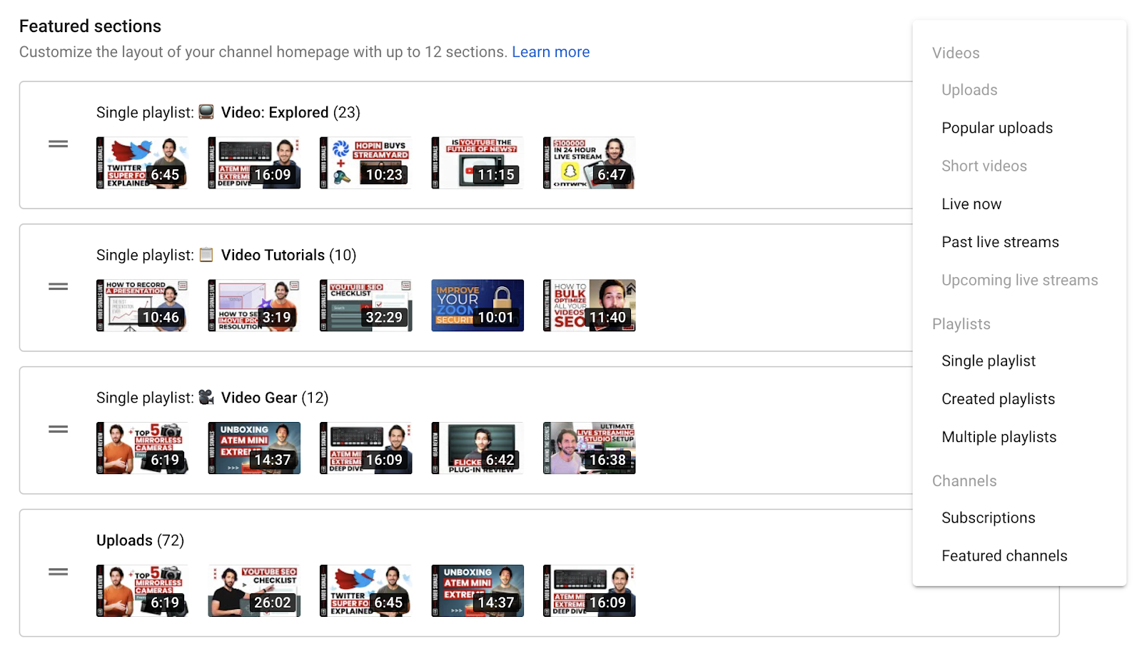 Dropdown with all the options for YouTube channel featured sections