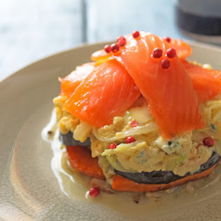 Pumpkin Timbale with Eggplant, Blue Cheese Omelet and Salmon.