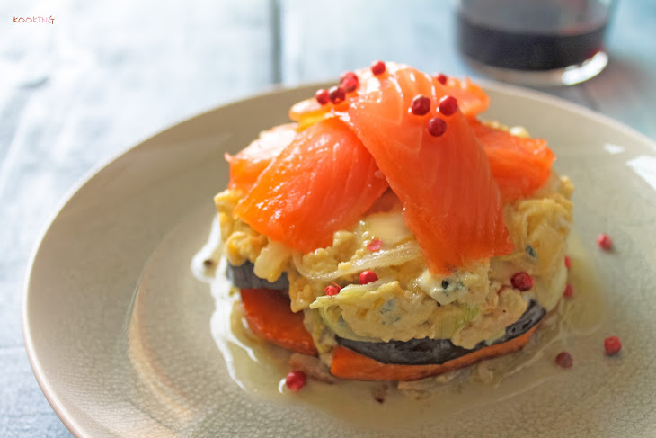 Pumpkin Timbale with Eggplant, Blue Cheese Omelet and Salmon Recipe