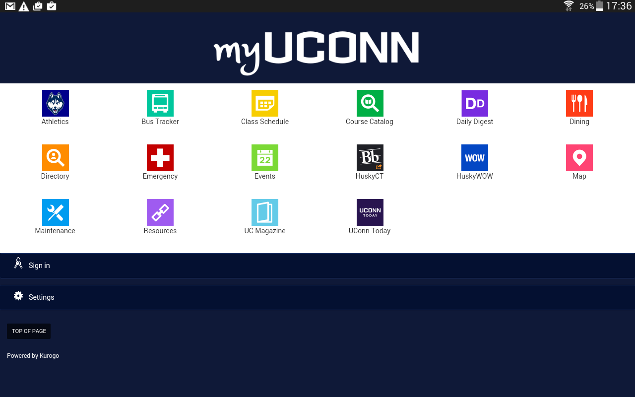 myUConn- screenshot