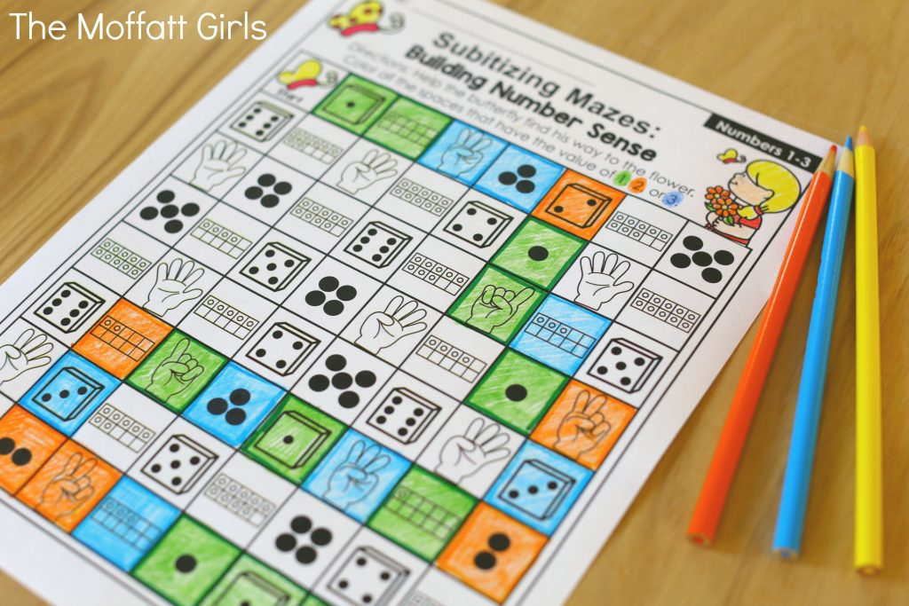 Teach number sense in a fun and hands-on way with the Subitizing NO PREP Packets! Perfect for Preschool and Kindergarten!