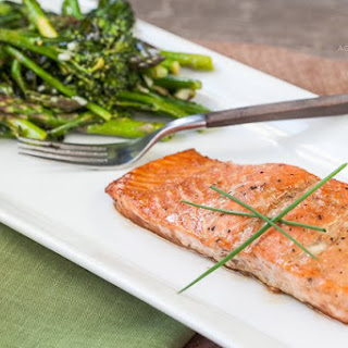 Asian Glazed Salmon with Roasted Broccolini and Asparagus