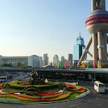 pearl tower and giant roud-a-bout in Shanghai in Shanghai, Shanghai, China