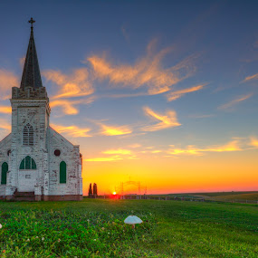 The Church and the Mushrooms by Ken Smith - Buildings & Architecture Decaying & Abandoned ( schuyler, sunset, landscape, wilson church )