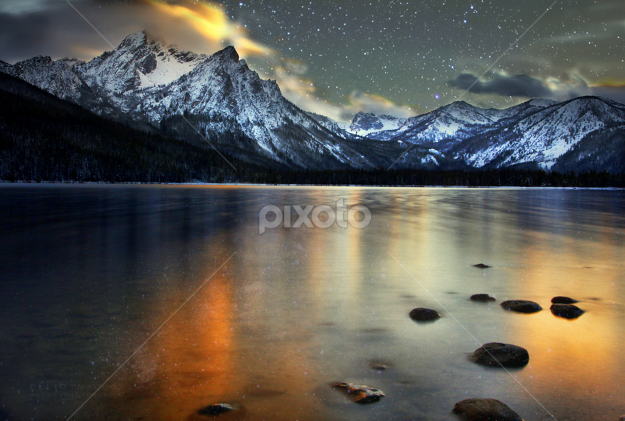 Mountains Majesty by Lisa Kidd - Landscapes Mountains & Hills ( idaho, stanley, mountains, lake, night )