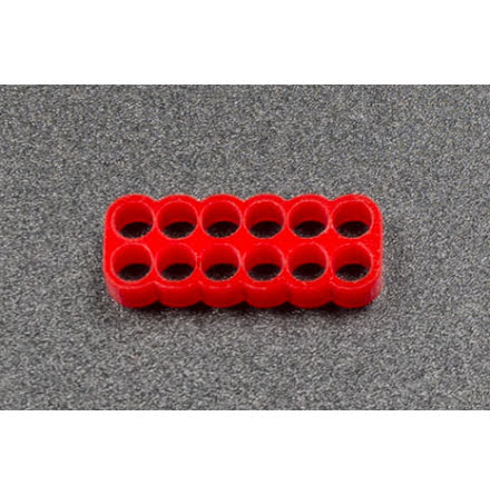 Kabelkam for 12 pins kabel, 2x6 Ø4mm hull, rød
