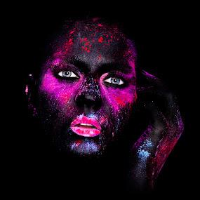 Coloured dreams by Mischa Firges - People Portraits of Women ( color, makeup, bodypainting, paint, painting, portrait )