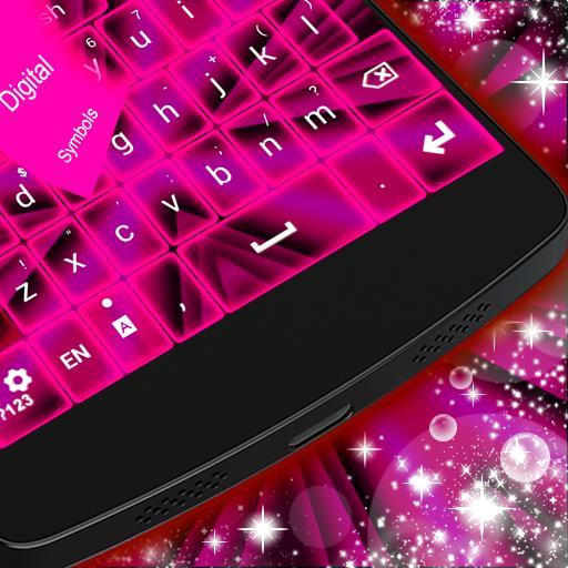 粉紅色霓虹燈鍵盤GO 個人化 LOGO-玩APPs