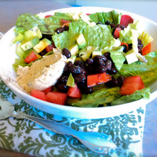 Green Salad with Avocado and Black Beans.