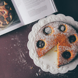 Olive Oil Ricotta Cake with Honey Soaked Plums