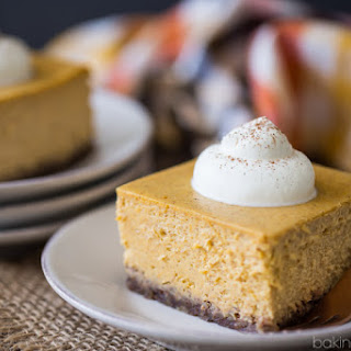 Pumpkin Cheesecake Bars with Pecan Crust.
