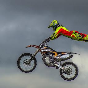 Concentration! by Karen Buttery - Sports & Fitness Motorsports ( extreme, extreme_sport, sky, motorbike, stunt, spot )