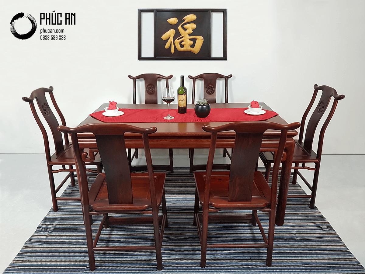 Bộ bàn ăn gỗ Trắc mẫu góc triện dài 154cm + 6 ghế