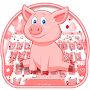 Pink Cute Piggy Keyboard Theme