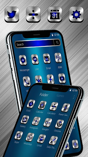 Blue Silver Metal Launcher Theme 1.1.4 screenshots 3
