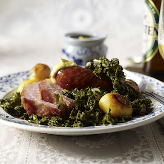 Kale with Ham and Smoked Sausage.