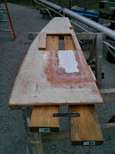 Photo: using fiberglass tabbing to secure the section of filler decking