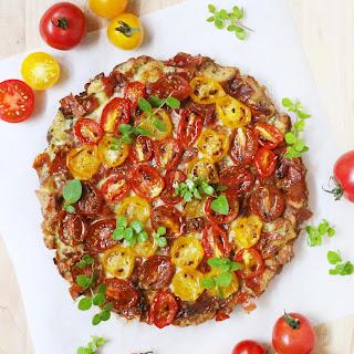 Frittata di Pane (Bread Frittata) with Broiled Cherry Tomatoes and Prosciutto.