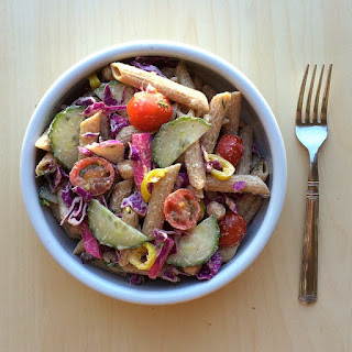 Middle Eastern-Inspired Pasta Salad with Tahini Dressing (Vegan).