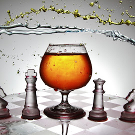 Another messy glass and chess board splash by Peter Salmon - Artistic Objects Glass ( water, splash, chess, glass, mess )