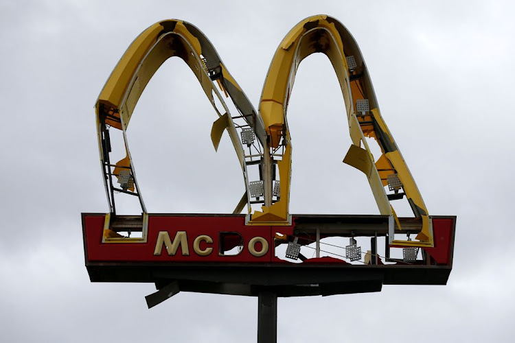 A McDonald's sign in Panama City Beach, Florida, the US, that was damaged by Hurricane Michael. Picture was taken on October 10 2018. Picture: REUTERS/JONATHAN BACHMAN