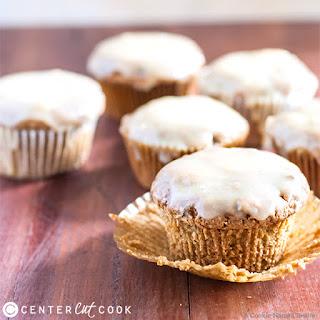 Zucchini Muffins with White Chocolate Peanut Butter Glaze.