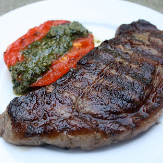 Grilled Steak with Tomatoes and Pesto