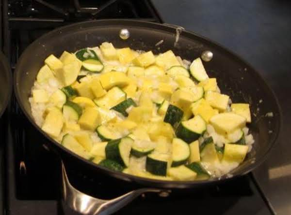 The Squash And Onions Sauteing In Butter.