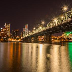 Portland by Night by Claus Dahm - City,  Street & Park  Skylines ( oregon, portland, reflections, night, bridge, flares, city,  )
