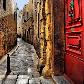Mdina Street by Francis Xavier Camilleri - City,  Street & Park  Historic Districts (  )