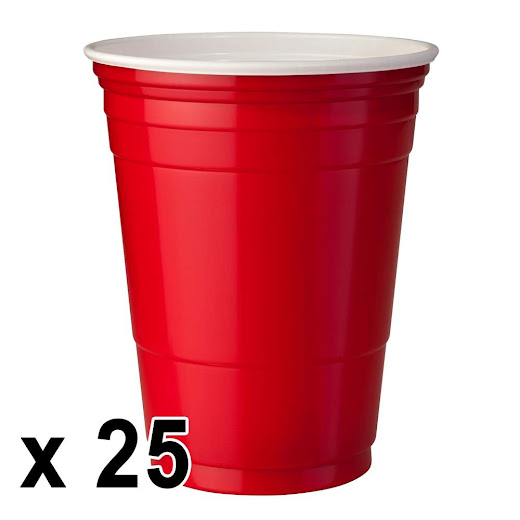 25 kpl. Red Cups Mukeja (473ml/16 Oz.)