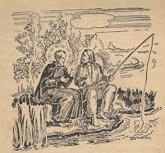 """Photo: Irena Dybowska, drzeworyt. Ilustracja do broszury """"KŁOSY Z BOŻEJ ROLI """" wyd. 1935 r. Nieraz siadał na brzegu rzek koło rybaka i budził śpiącą duszę..."""